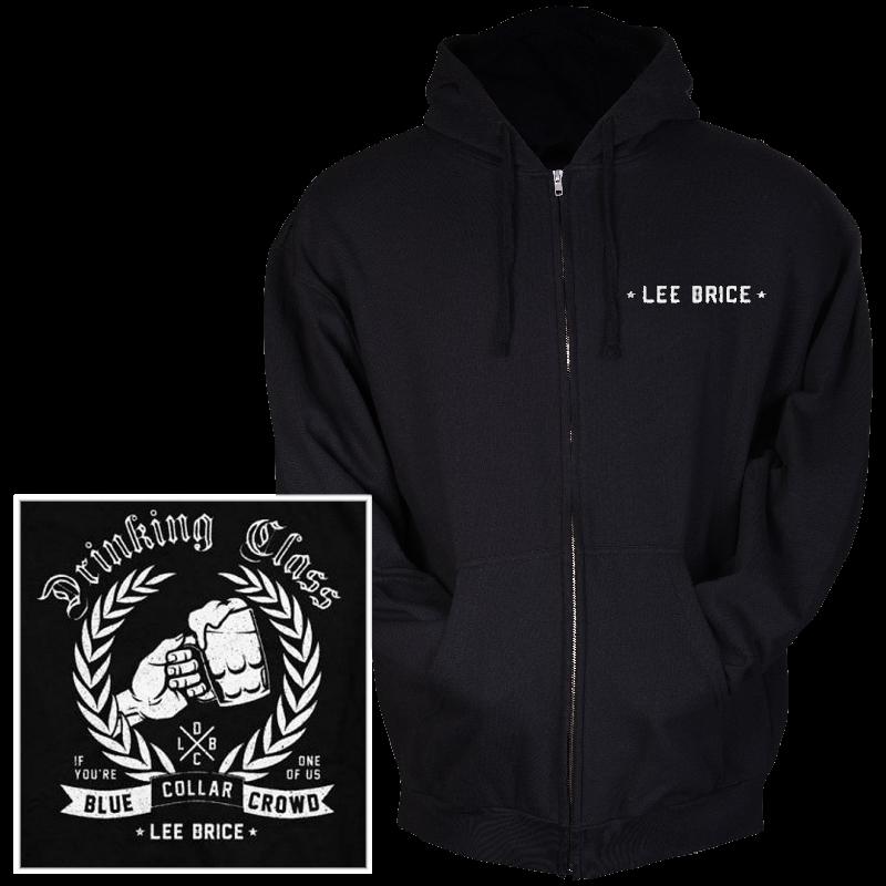 Lee Brice Black Zip Up Drinking Class Hoodie