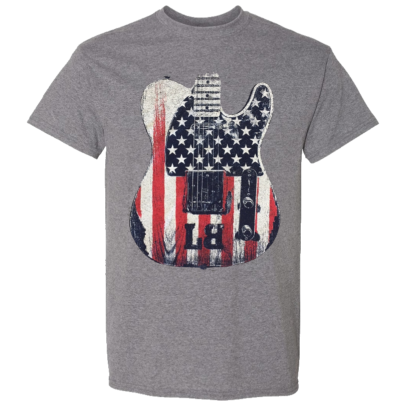 Lee Brice Heather Graphite Flag Guitar Tee