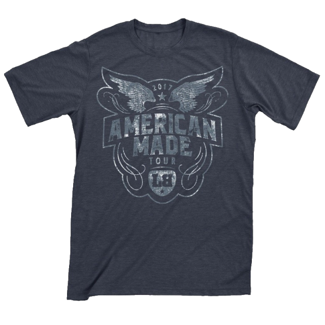 Lee Brice 2017 Heather Navy American Made Tee