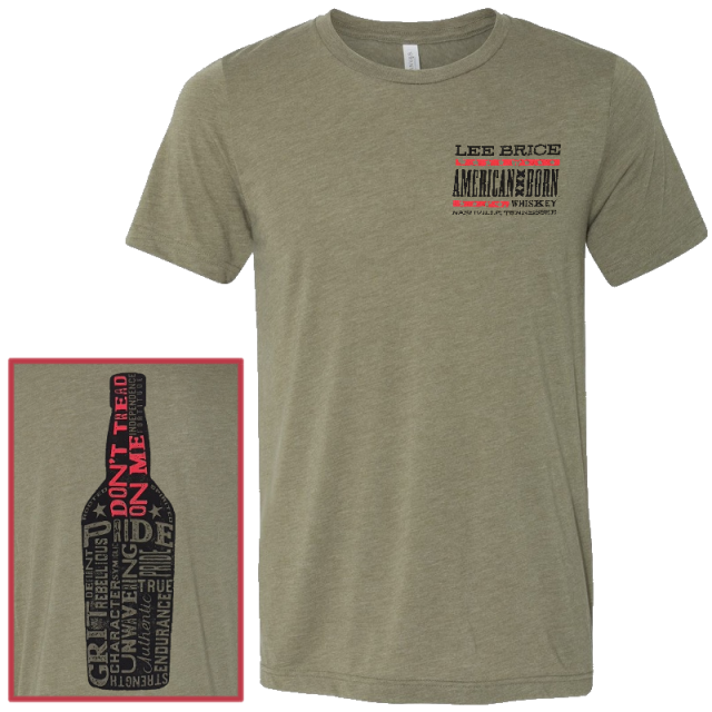 Lee Brice Heather Olive American Born Whiskey Tee